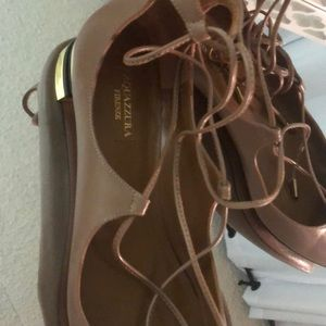 Aquazzura lace up flat with gold detail